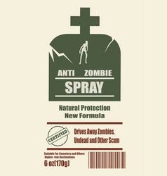 anti zombies spray label vector image vector image