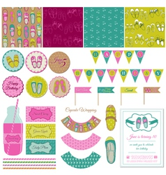 Baby Girl Shoes Party Set vector image