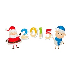 Christmas sheep and santa claus with numbers vector