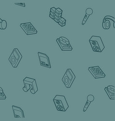 dj outline isometric pattern vector image