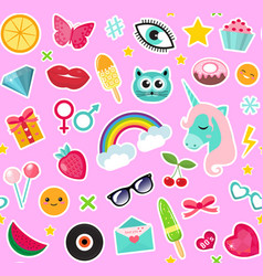 fashion seamless pattern of patches 80s comic vector image