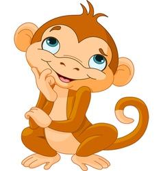 Monkey Thinking vector image vector image