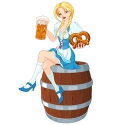 Oktoberfest Girl on the Keg vector image vector image