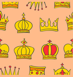 pattern of gold crown style collection vector image vector image