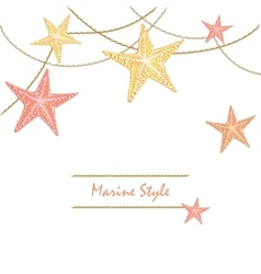 White Happy Decorative sea card with starfishes vector image vector image
