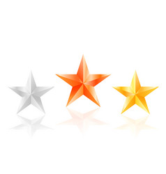 3d stars golden silver bronze star with sides vector image