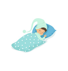 adorable little boy sleeping on his bed wearing vector image