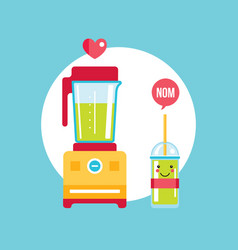 blender and glass of fresh smoothie vector image