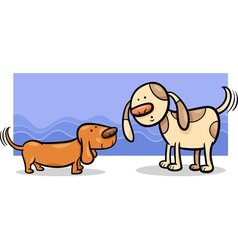 dogs wagging tails cartoon vector image vector image