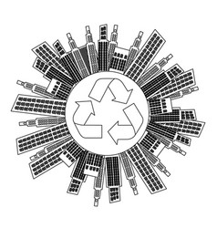 Figure city with build and help environment icon vector