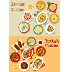 German and turkish cuisine icon for menu design vector image vector image