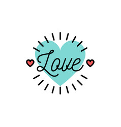 Love text wedding and valentines day icons love vector