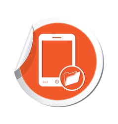 phone folder icon orange sticker vector image