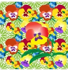 Seamless pansy floral pattern vector