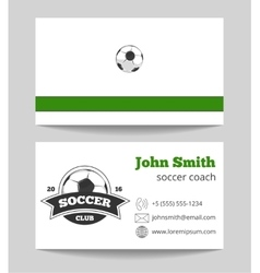 Soccer club business card green vector image vector image