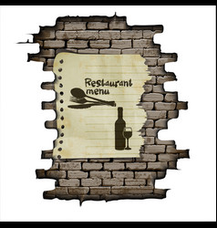 Template restaurant menu brick wall and a piece of vector image