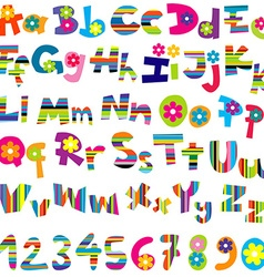 alphabet set and numbers vector image vector image