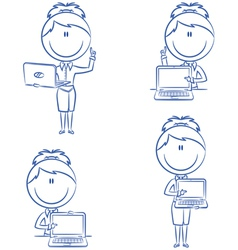 business ladies with laptop vector image vector image