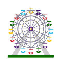 colorful ferris wheel on white background vector image