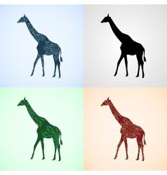 Set from giraffe with mandala patterns vector