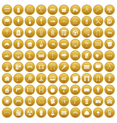 100 architecture icons set gold vector