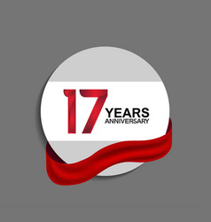 17 years anniversary design in circle red ribbon vector