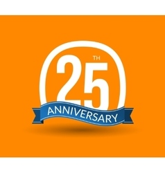 25 Anniversary numbers with ribbon Flat origami vector