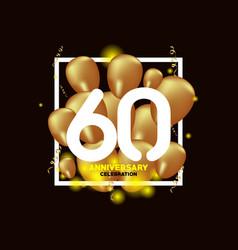 60 year anniversary white gold balloon template vector