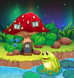 A frog near the giant red mushroom house vector image