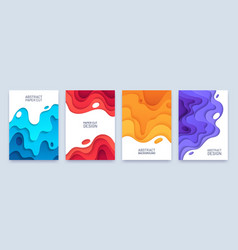 abstract paper cut cover layer wavy shapes 3d vector image