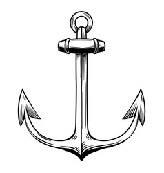 anchor in engraving style on white background vector image