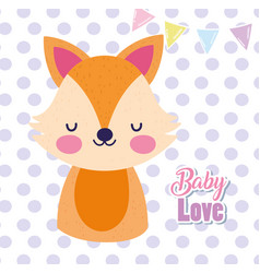 bashower love cute fox cartoon polka dots vector image