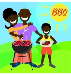 BBQ party with family and kebab steak grill vector