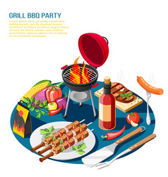 bbq piece isometric background vector image