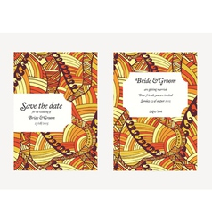 Beautiful hand drawn wedding invitation cards vector image