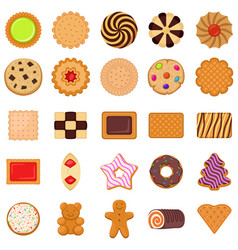 Biscuit icons set flat style vector