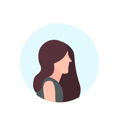 brown hair woman profile avatar isolated female vector image