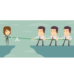 Businesswoman in tug of war vector image