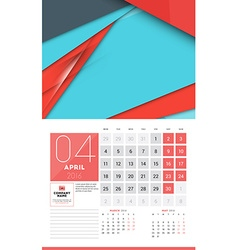 Calendar for 2016 Year April Design Clean Template vector