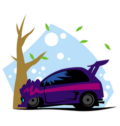 car crashed into a tree vector image