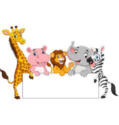 cartoon wild animals with blank sign vector image