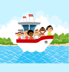 Children on the boat vector