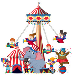Children riding on airplane swing at circus vector