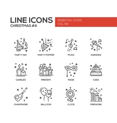 Christmas and New Year - line design icons set vector image