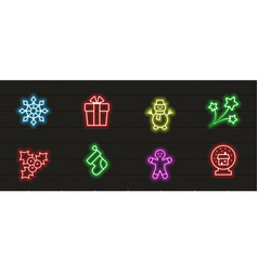 christmas icon set in neon style vector image