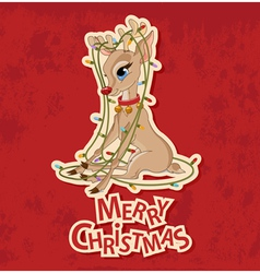 Christmas Reindeer Tangled in Garland vector