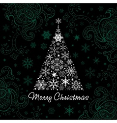 Christmas tree of Snowflakes background vector image