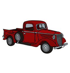 Classic red small truck vector