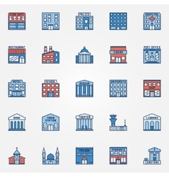 Colorful building icons set vector image