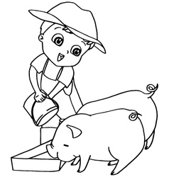 Coloring book child feeding pigs vector